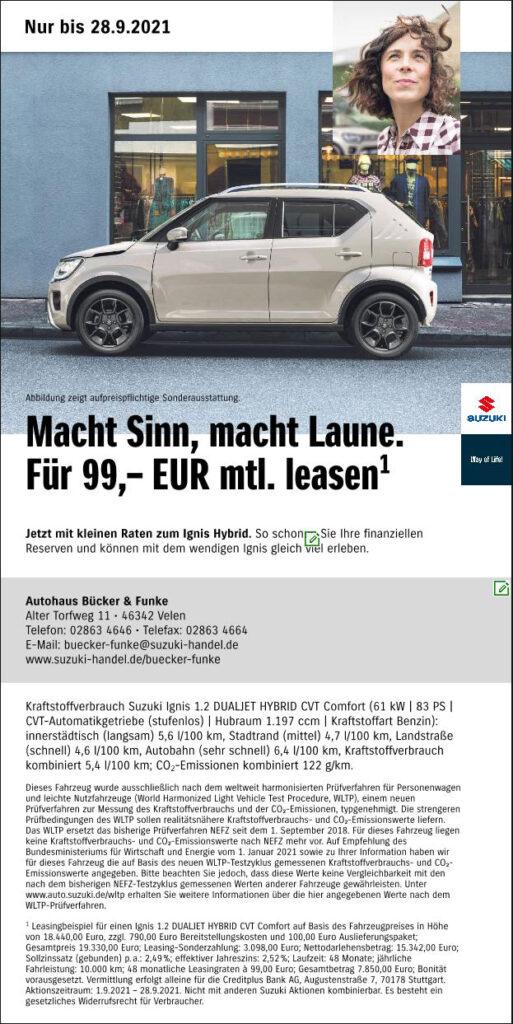 99,- Leasing für den Suzuki Ignis