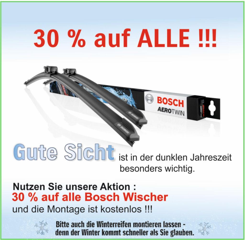 30% auf alle Bosch Scheibenwischer
